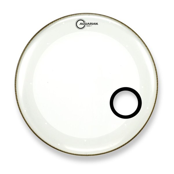 "Aquarian Aquarian Force I Series 20"" Bass Drum Resonant Head and Porthole Drumhead - White"