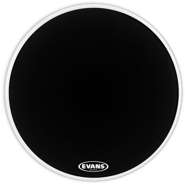 "Evans Evans EQ3 Resonant Black 20"" No Port Bass Drumhead"