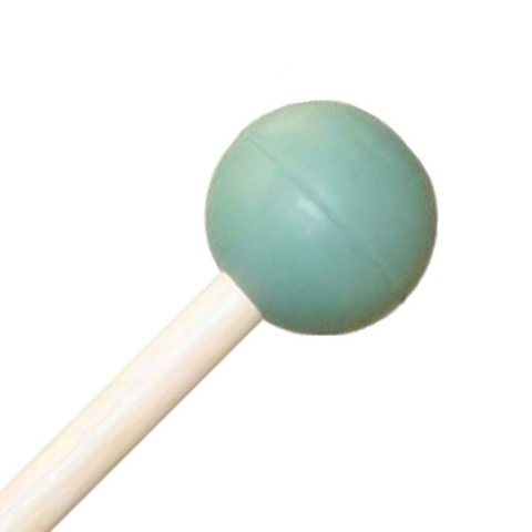 "Mike Balter 104R Gradioso Series 16 1/8"" Medium Round Light Green Rubber Marimba Mallets with Rattan Handles"