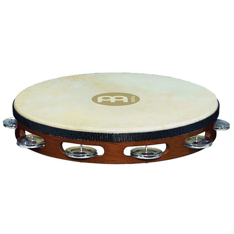 Meinl Headed Wood Tambourine - 1 Row of Aluminum Jingles - African Brown