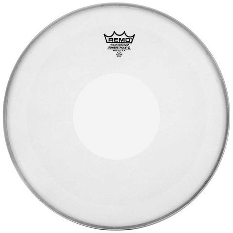 "Remo Coated Powerstroke X 15"" Diameter Batter Drumhead - Clear Dot on Top"