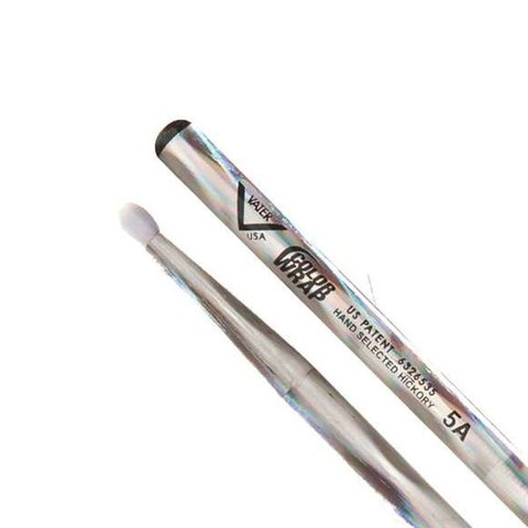 Vater Color Wrap 5A Silver Optic Nylon Tip Drumsticks