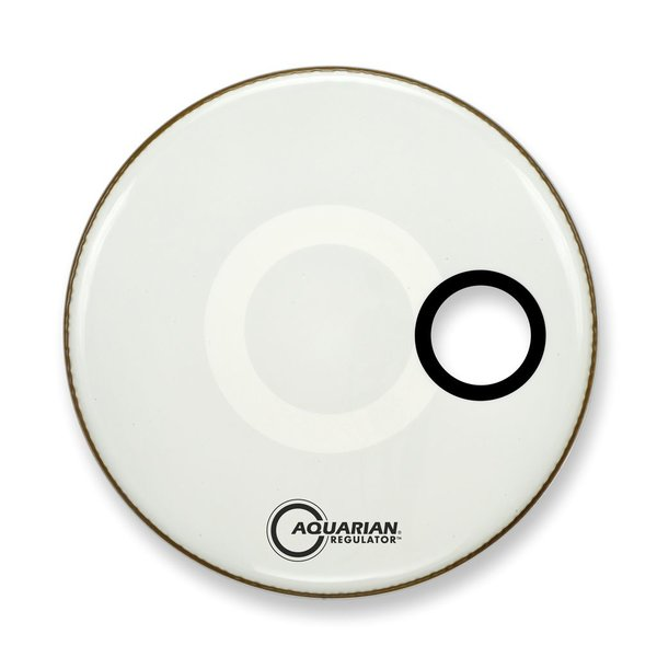 "Aquarian Aquarian Regulator Series Small Hole 24"" Drumhead with Ring - White"