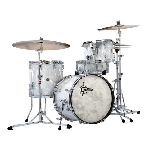 Gretsch 130th Anniversary 4 Piece Bop Shell Pack In Silver Satin Flame Nitron Finish