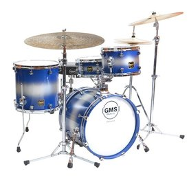 GMS *CLOSEOUTB* GMS Super Vintage Bop 4 Piece Shell Pack in Blue/Silver Duco