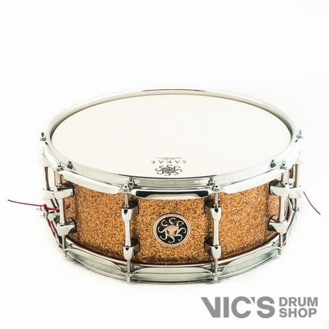 Sakae 5.5x14 Maple Snare Drum in Gold Champagne Lacquer