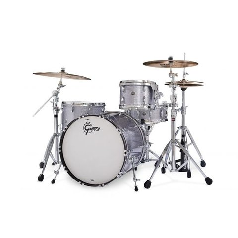*CLOSEOUTA* Gretsch 130th Anniversary Brooklyn 4 Piece Shell Pack In Pewter Sparkle Nitron Finish