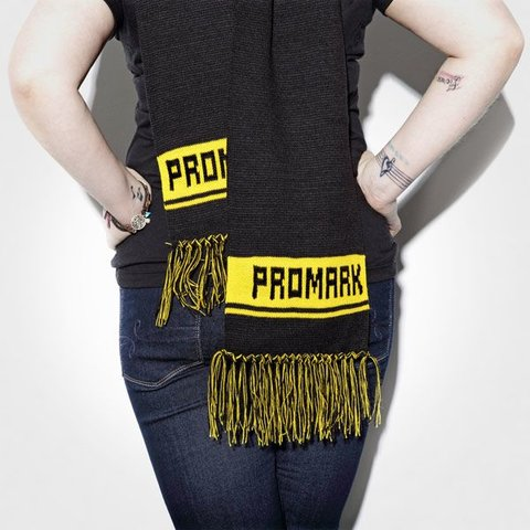 Promark Winter Scarf; Black with Yellow Logo