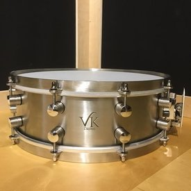 VK Drums Stainless Steel 5x14 Snare Drum w/ Stainless Straight Hoops