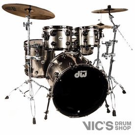 DW DW Collector's Maple/Mahogany 4 Piece Shell Pack in EX Stainless Steel Lacquer