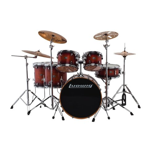 Ludwig Evolution Maple 6 Piece Shell Pack in Mahogany Burst (22/10/12/14/16/14SD)