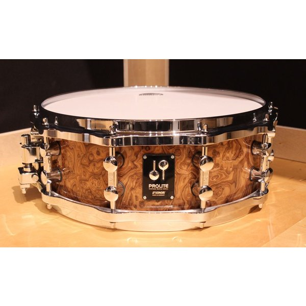 Sonor Sonor Prolite 5x14 Snare Drum in Chocolate Burl Lacquer Finish; Die Cast Hoops
