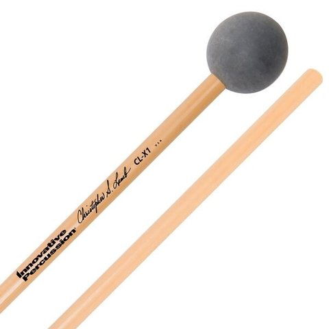Innovative Percussion Medium Soft Xylophone Mallets - 1-1/16 Rubber Weighted - Dark Grey - Rattan
