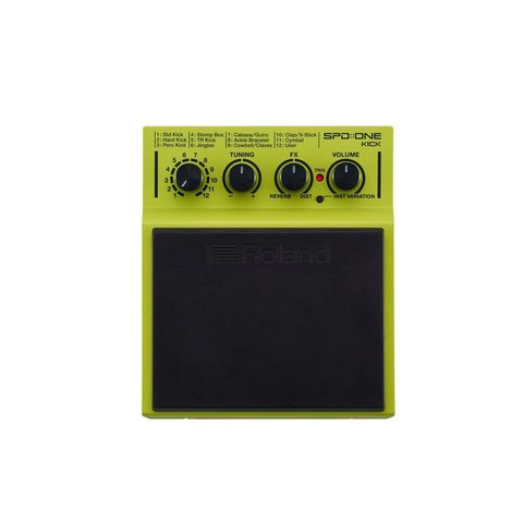Roland KICK - Percussion Pad with 22 built in sounds.FX, Tuning, and Level Controls. Playable with sticks, hands, or feet. .WAV import capability via Micro USB, includes mounting clamp