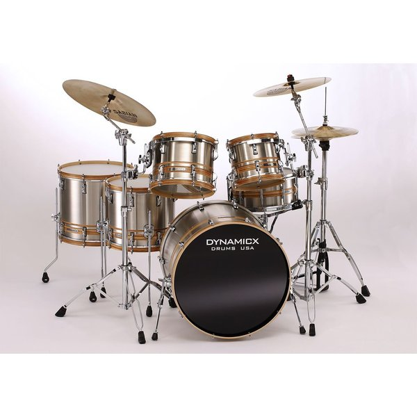 Used Dynamicx Stainless Steel 6 Piece Shell Pack w/ Wood Hoops and Zebrawood Veneer Inlay