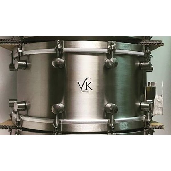 VK Drums Stainless Steel 7x14 Snare Drum w/ Stainless Straight Hoops