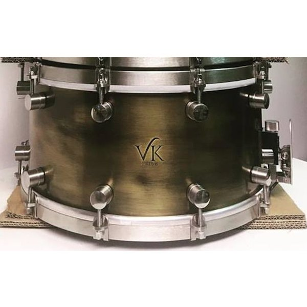 VK Drums Patina Brass 7x14 Snare Drum w/ Stainless Straight Hoops