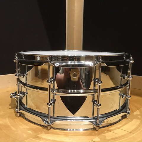 Ludwig USA Chrome Over Brass 6.5x14 Smooth Shell Snare Drum w/ Tube Lugs