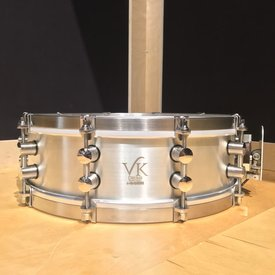 VK Drums Sterling Silver 4.5x14 Snare Drum w/ Stainless Straight Hoops (Drum 12 of 47)