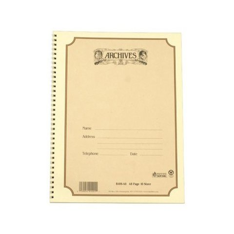 Archives Spiral Bound Staff Paper; 10 Stave, 48 Pages