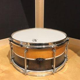 C&C C&C Custom 3 Ply Maple 6.5x14 Snare Drum in 2 Tone w/ Aged Nickel Hardware