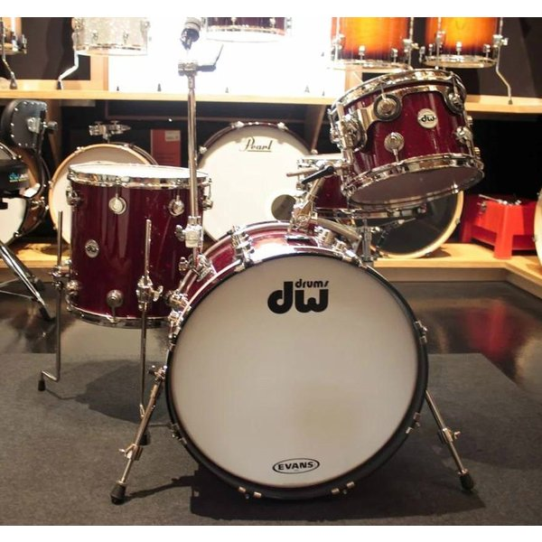 Used Used DW Collector's Prototype Mahogany/Spruce 4 Piece Shell Pack in FP Ruby Glass w/Nickel Hdw