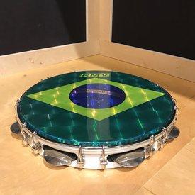 "RMV 12"" Pandeiro, Key-tuned Synthetic Brazilian Flag Image Drumhead with Chrome Jingles - White Gloss Finish"