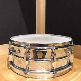 Used Vintage 1960's Super Ludwig 400, Chrome over Brass 5x14 Snare Drum