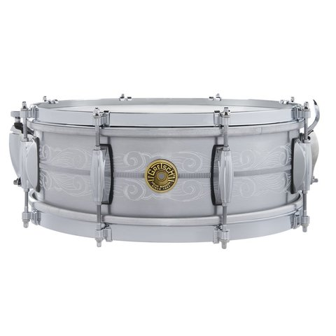 Gretsch 135th Anniversary Solid Aluminum 5x14, 8-lug, Engraved Snare Drum w/ Deluxe Bag