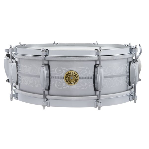 Gretsch ***PRE-ORDER***Gretsch 135th Anniversary Solid Aluminum 5x14, 8-lug, Engraved Snare Drum w/ Deluxe Bag