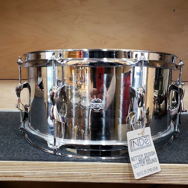 INDE Independent Drum Lab 6.5x14 Stainless Steel Snare Drum, Steel Hoops