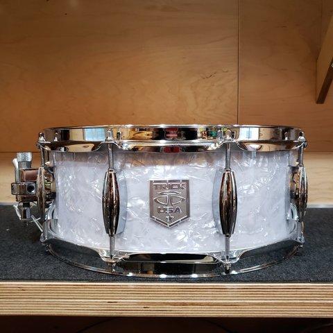 Trick 5.5x14 Snare Drum, White Marine Pearl Wrap