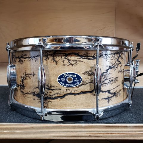 Chicago Drum 6.5x14 Maple/Poplar Snare Drum in Fractal Wood Burn Finish