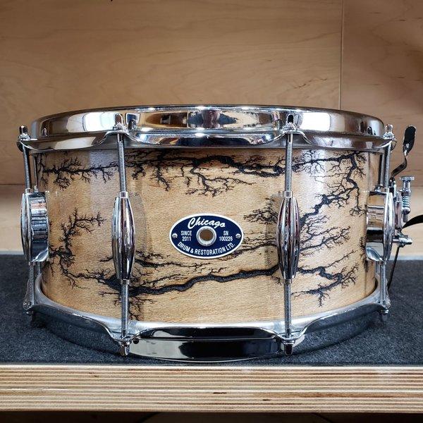 Chicago Drum & Restoration Chicago Drum 6.5x14 Maple/Poplar Snare Drum in Fractal Wood Burn Finish