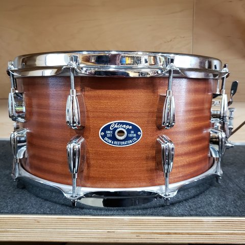 Chicago Drum & Restoration 7x14 Snare Drum, Natural Mahogany Tung Oil Finish