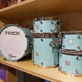 Trick Trick Drums Custom Aluminum 5 Piece Shell Pack in Tiffany Blue w/Polished Hardware, 14x20BD, 7x10RT, 8x12RT, 14x14FT, 7x14SD, w/360 Mounts