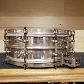 "Used Vintage 1920's Ludwig 5x14 10-lug ""Super Ludwig"" Snare Drum, Nickel Over Brass"