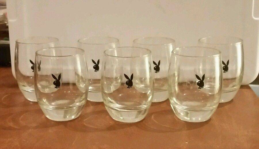 Vintage PLAYBOY BUNNY Low Ball Glasses - Set of 7