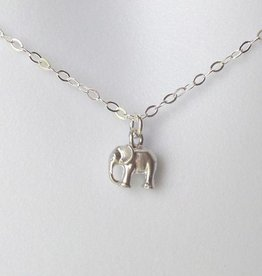 The Wandering Dandelion Wandering Dandelion SILVER Tiny Elephant Necklace
