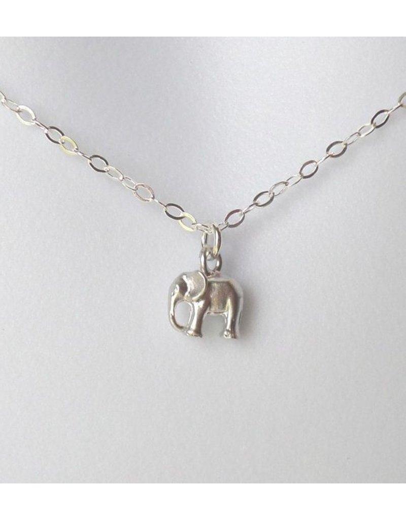 The Wandering Dandelion Wandering Dandelion SILVER Tiny Elephant Necklace