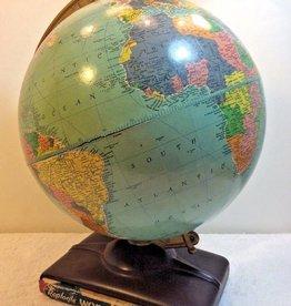 Vintage 1955 Globe With World Atlas Book