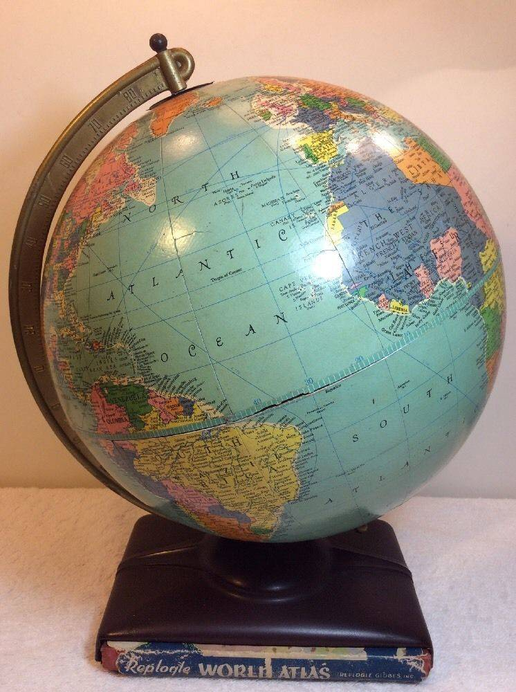 Vintage 1955 Globe With World Atlas Book