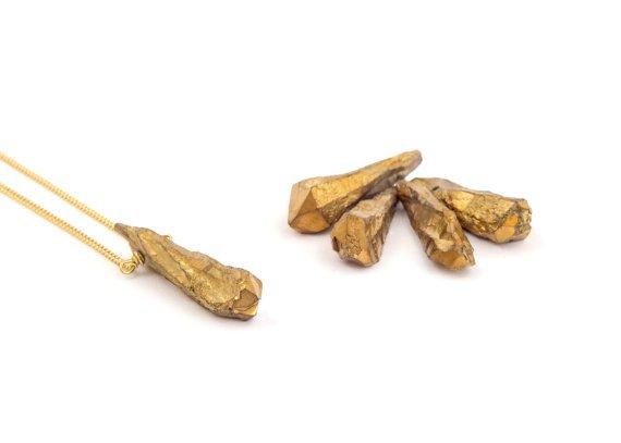 Mana Made Jewelry Mana Made Gold Quartz Stone Necklace (Brass Finish)
