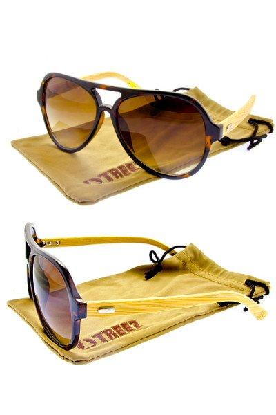 Mens Treez Bamboo Aviator Sunglasses