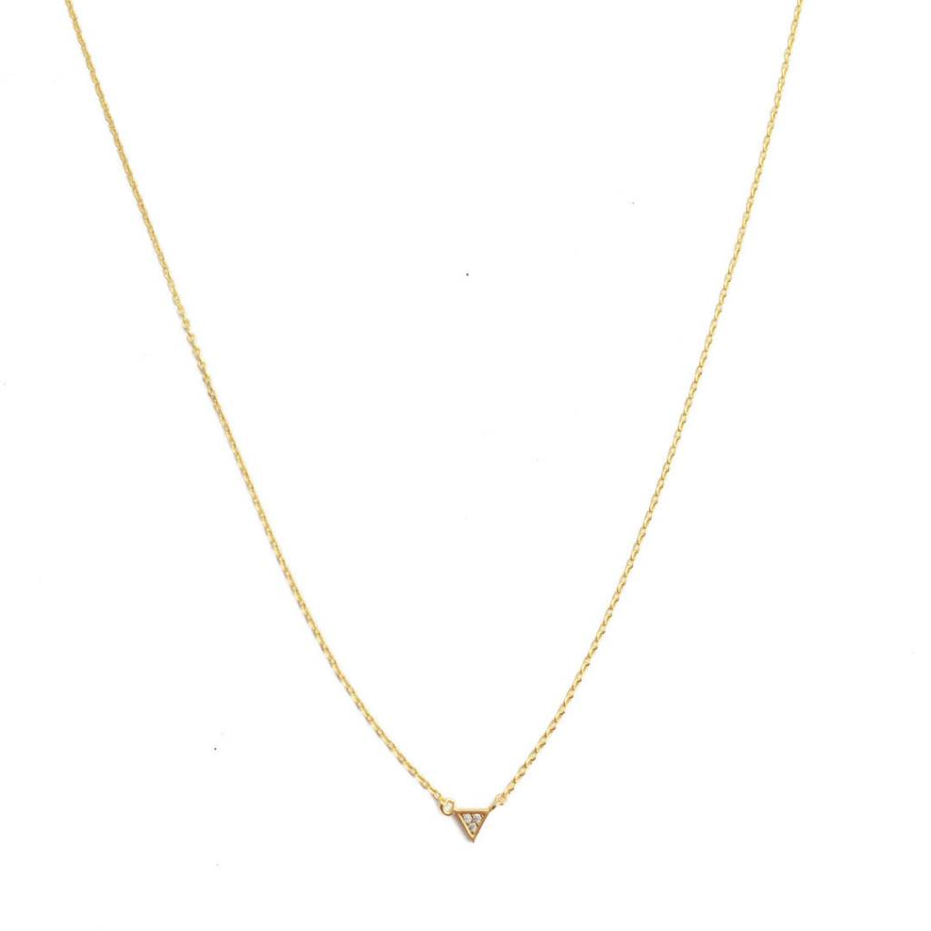 Honeycat Honeycat Mini Crystal Triangle Necklace