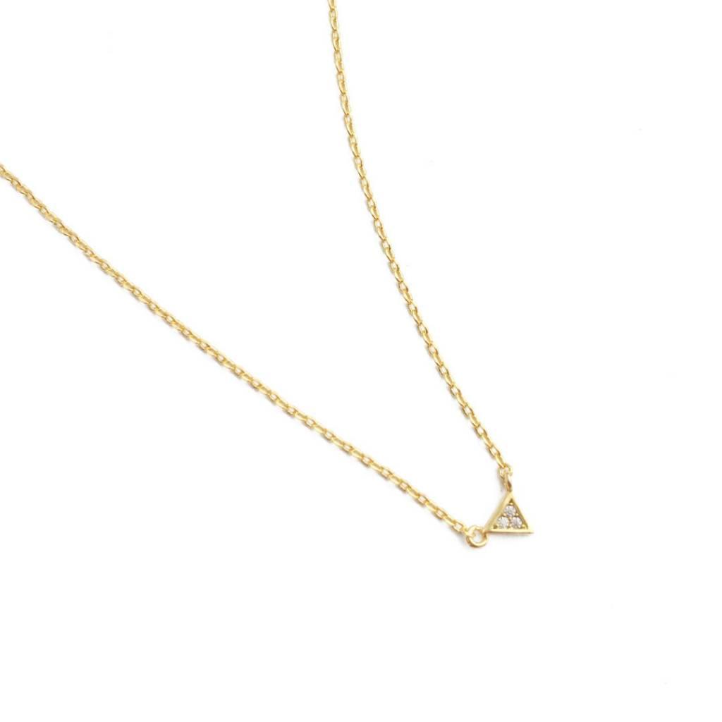 Honeycat Honeycat Mini Crystal Triangle Necklace