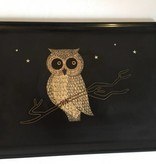 Vintage COUROC of Monterey Black Owl Bar Tray, Inlaid Owl and Stars Barware MCM
