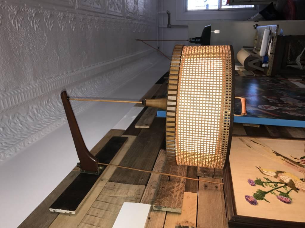 Vintage Mid-Century Teak Counter-Weight Lamp