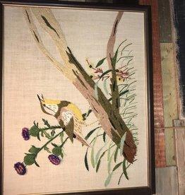 Vintage Crewel Wool Embroidery Bird