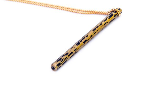Mana Made Jewelry Mana Made Black & Gold Textured Bar Necklace